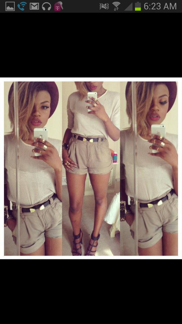 blouse shorts beige beige shorts white white top belt hat shoes cute shirt cut offs iphone ring gold lipstick eyeliner cut off shorts red lipstick red lipsstick
