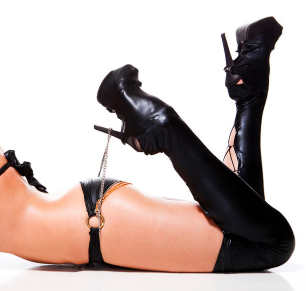 underwear shoe covers heels shiny wet look tight high