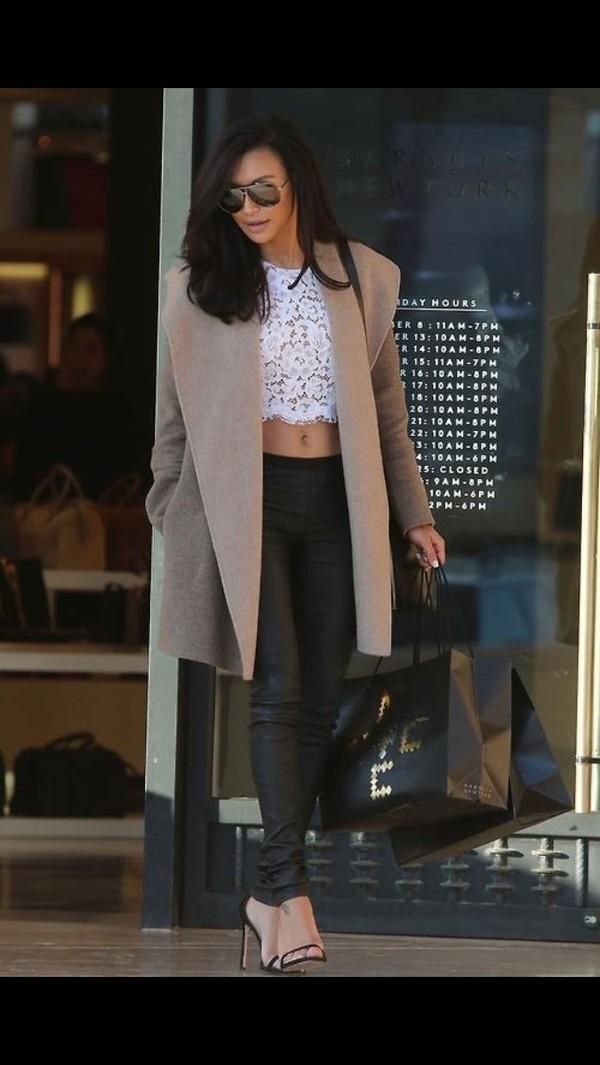 jacket naya rivera jacket leather pants blouse pants shoes sunglasses