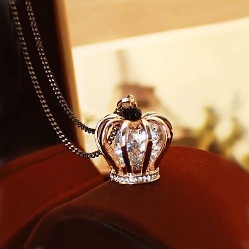 Fashion Crystal Crown Pendant 14K Gold Plated Women's Long Necklace