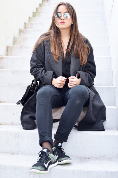 blaastyle blogger jeans grey coat long coat nike sneakers mirrored sunglasses winter coat jacket sud express