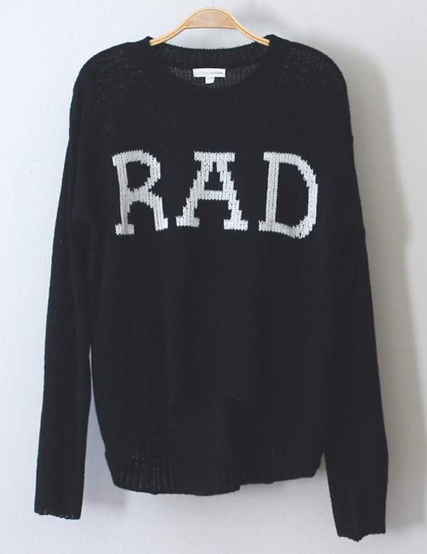 sweater rad black pullover black and white tumblr hipster oversized sweater fall outfits grunge graphic tee