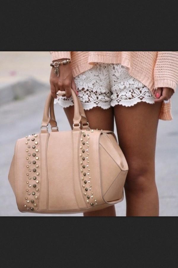 shorts white lace bag