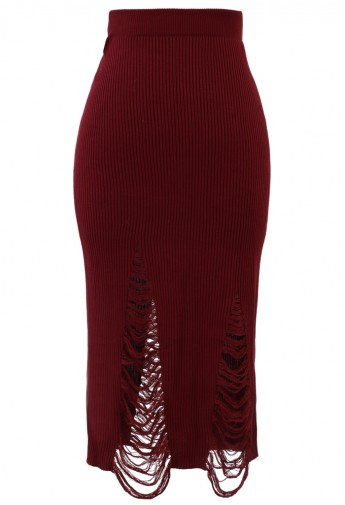Shredded Knit Skirt in Red - Retro, Indie and Unique Fashion
