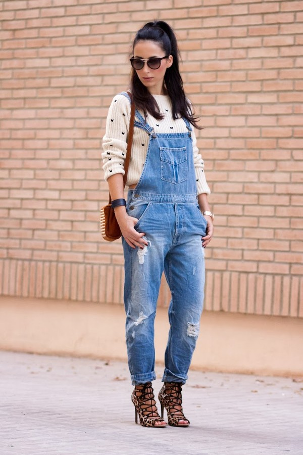 jeans denim ripped dangaree sweater butterfly jumper fashion shoes sandals streetstyle sunglasses shoulder bag Choies denim overalls