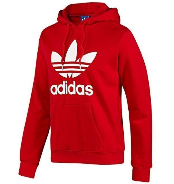 Adidas Mens Size s M L XL Trefoil Logo Hoody Overhead Sweater Fleece Red Retro | eBay
