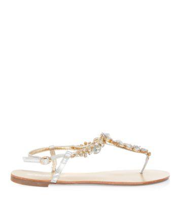 Silver Jewelled T-Bar Sandals
