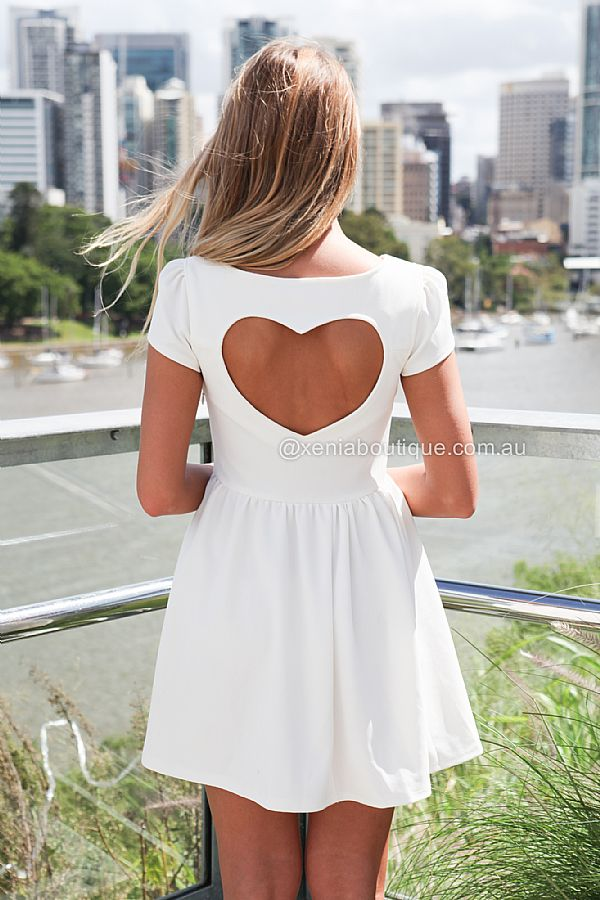 CAP SLEEVE HEART CUT OUT DRESS  , DRESSES, TOPS, BOTTOMS, JACKETS & JUMPERS, ACCESSORIES, 50% OFF SALE, PRE ORDER, NEW ARRIVALS, PLAYSUIT, COLOUR, GIFT VOUCHER,,White,CUT OUT,SHORT SLEEVE,MINI Australia, Queensland, Brisbane