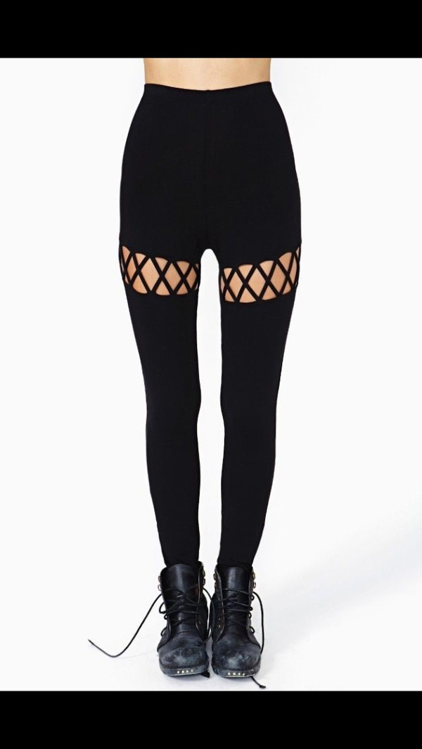 leggings criss cross hollow out