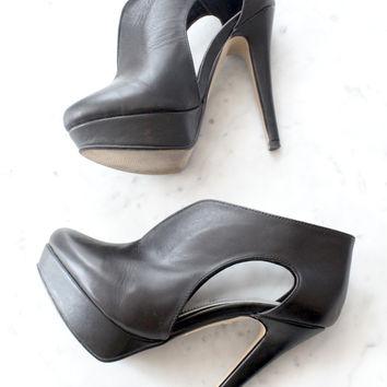 Black Cut Out Platform Heels on Wanelo