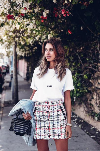 viva luxury, blogger, skirt, shoes, jacket, t-shirt, bag, tweed skirt, cult gaia bag, white t-shirt, spring outfits, short skirt, white skirt, black bag, white top, denim jacket, watch - Wheretoget