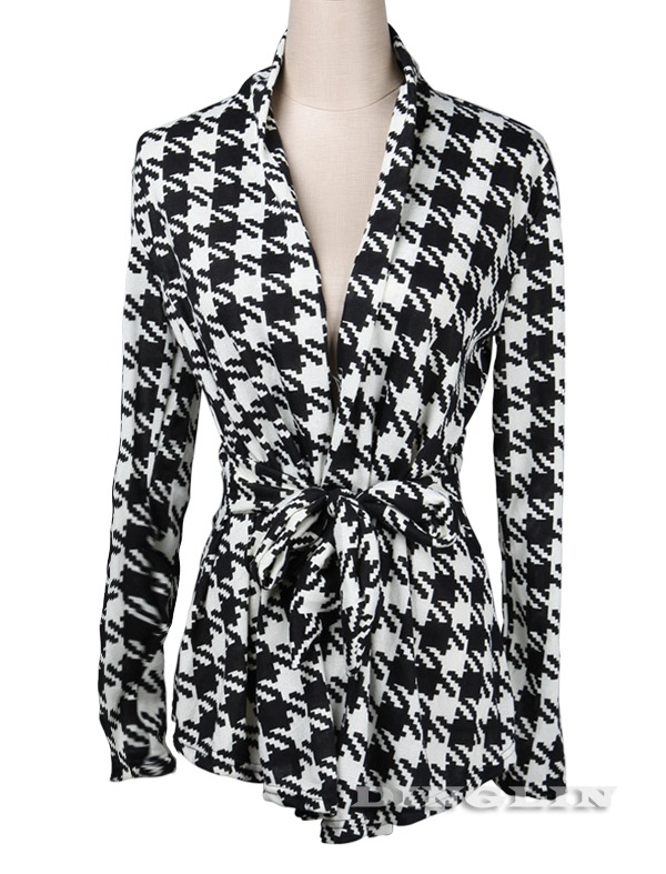 Spring Autumn Women Houndstooth Print Ladies Casual Cardigan Coat Jacket Peplum | eBay
