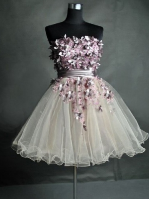 Buy Unique Floral Ball Gown Strapless Mini Prom Dress under 300-SinoAnt.com