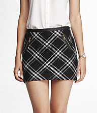 TEXTURED TARTAN PLAID MINI SKIRT | Express