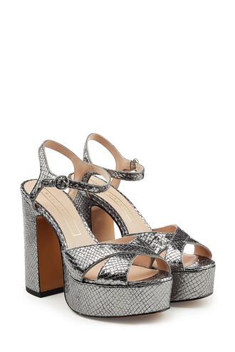 sandals platform sandals leather silver shoes