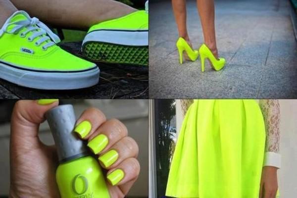 skirt neon nail polish shoes heels
