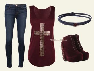 t-shirt red like love croix