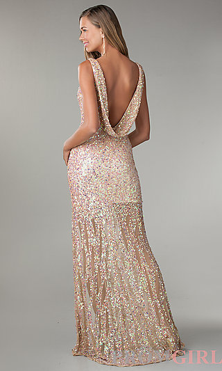 Prom Dresses, Celebrity Dresses, Sexy Evening Gowns - PromGirl: Floor Length V-Neck Sequin Dress
