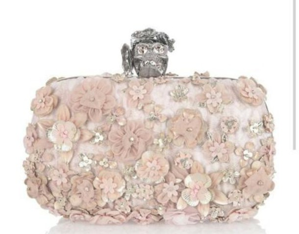 clutch embellished stone jeweled alexander mcqueen flowers baby pink texture romantic