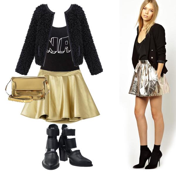 skirt Choies choies skirt gold skirt choies jacket