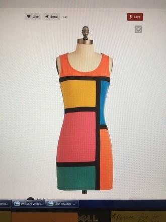 dress forever 21 colorblock multicolor mini dress