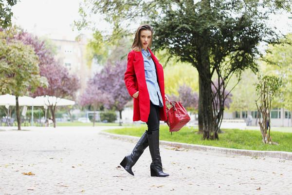 miss tangerine coat shirt pants shoes bag