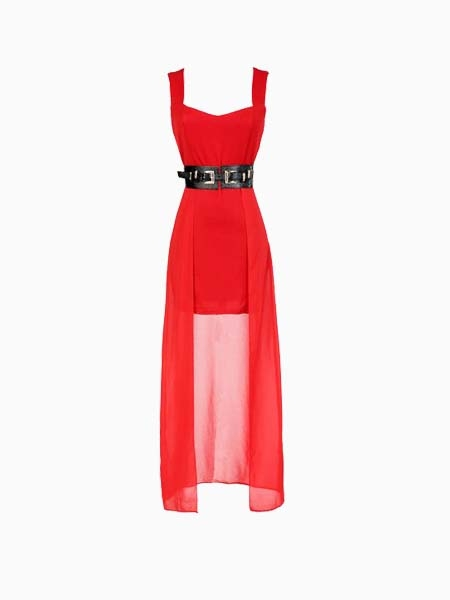 Red V-Deep Backless Dress With Black Belt | Choies