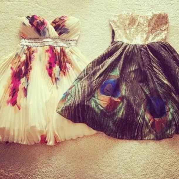 dress short wedding feathers flowers