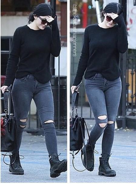 jumper kylie jenner jeans shoes