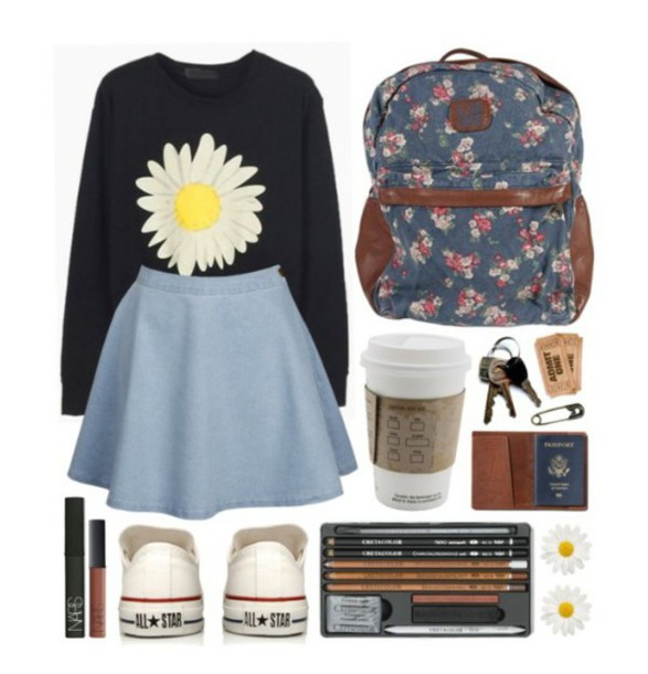 sweater daisy sweater skater skirt light blue skater skirt backpack