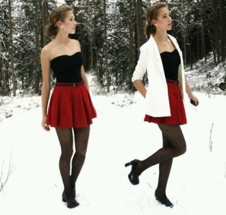 skirt red hot snow snow white white jacket top style chic outfils outfil love skirts and tops