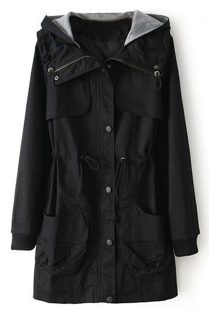 ROMWE   Hooded Drawstring Black Trench Coat, The Latest Street Fashion