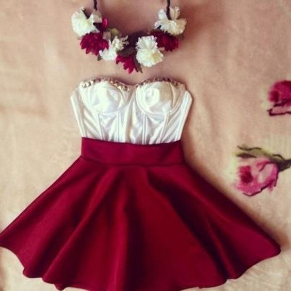bustier bustier crop top skater skirt burgundy skirt fall skirt cute outfits flower crown summer outfits studded bustier studs white crop tops red mini skirt