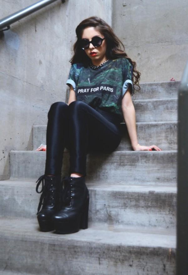 t-shirt green graffic tee dope