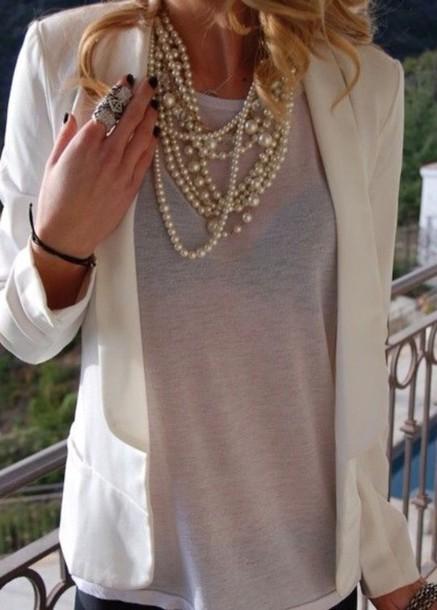 coat white fitted blazer