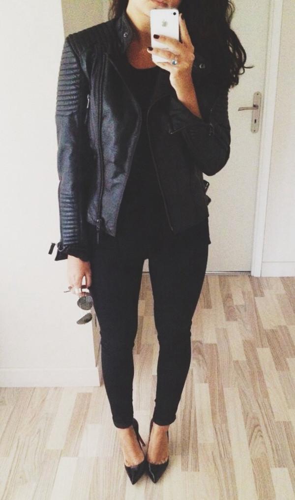 jacket leather jacket leather black leather jacket pointed toe aviator sunglasses shoes