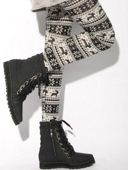 Knitted Nordic Snowflake Xmas Deer Warm Leggings Tight Pant White Black Reindeer   eBay