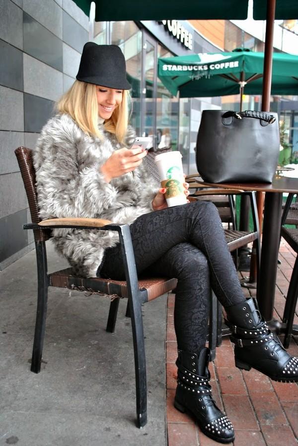let's talk about fashion ! coat sweater pants shoes bag hat