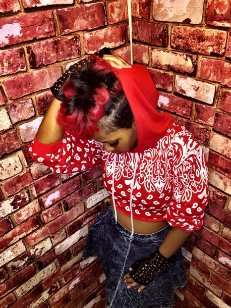 sweater bandana red bandana crop tops cropped hoodie cropped sweater
