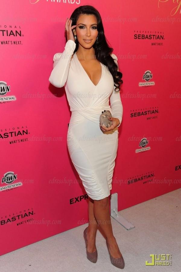 dress white dress bodycon bodycon dress white kim kardashian kim kardashian long hair long sleeve dress