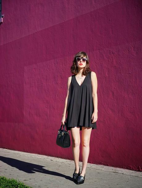 a fashion nerd blogger sunglasses black dress loafers