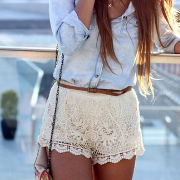 shorts lace shirt blouse