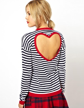 ASOS | ASOS Sweater In Stripe With Heart Cut Out Back at ASOS