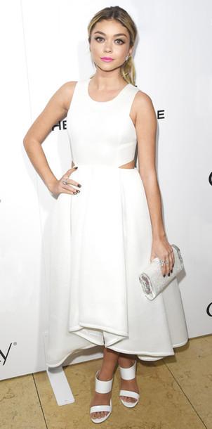 sarah hyland mules white dress dkny bag shoes stuart weitzman ice clutch dress make-up