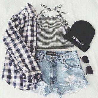 top clothes shorts plaid shirt beanie fashion