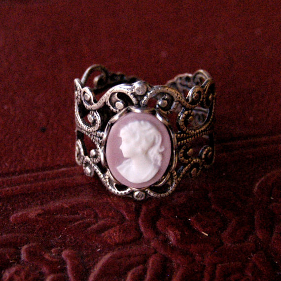 Pink Lady Cameo Ring by ragtrader on Etsy