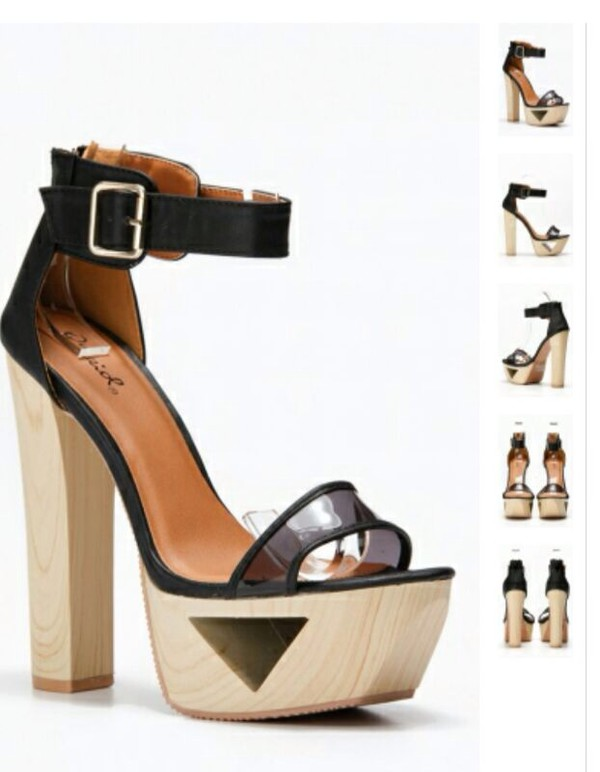 shoes heels cut-out wood high straps gap party high heels platform shoes platform heels black transparent
