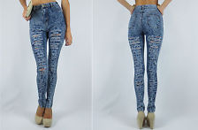 DISTRESSED HIGH WAIST ACID MINERAL WASH FRAYED RIPPED SKINNY JEANS PANTS S-XL | eBay