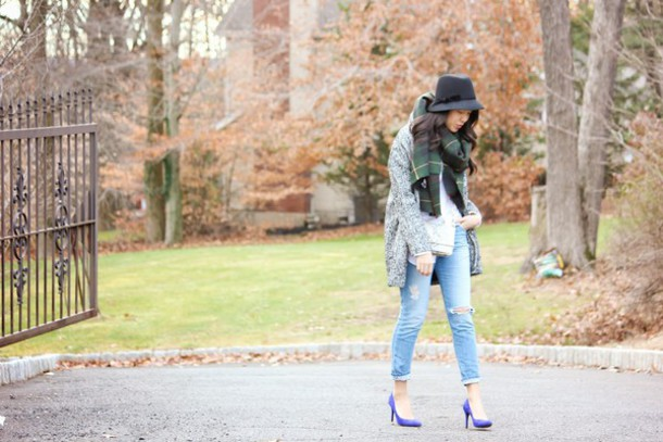 refined couture blogger coat shirt jeans shoes scarf bag hat
