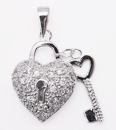 Heart Lock & Key Pendant (SPCZ125) - Aries Gewels